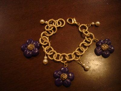 bracciale con ciondoli in fimo viola e giallo