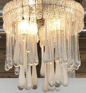 Gocce, ricambi per lampadari di Venini e non, in vetro soffiato di Murano, color bianco opale