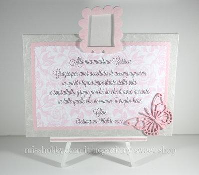 Targhetta con porta foto e farfalla versione rosa - bomboniera madrina padrino Cresima o Battesimo