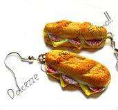 Orecchini Panini con salame e formaggio realizzati a mano in fimo e cernit - miniature, handmade, idea regalo,