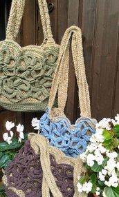 borsa cotone e juta naturale nuova  fatta a mano crochet