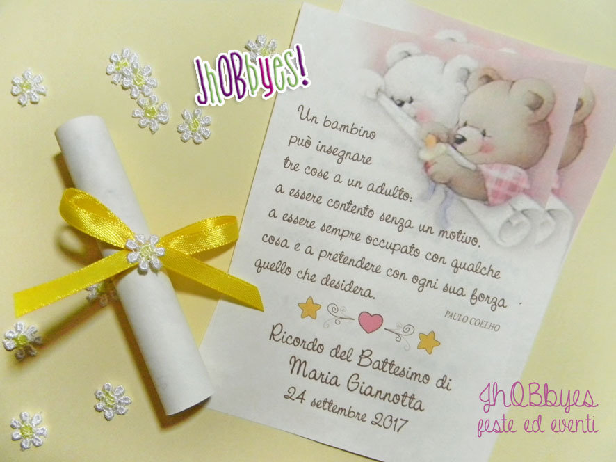 """Top Pergamena Ricordo """"Battesimo"""" - Feste - Biglietti e inviti - di  IL61"""