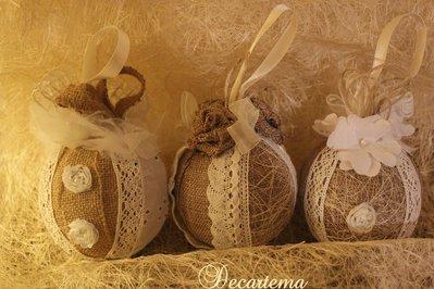 PROMOZIONE 3 sfere natalizie in stile Shabby Chic