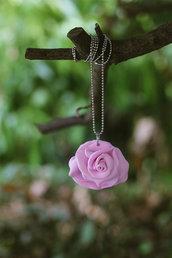 collana con rosa fimo - kawaii