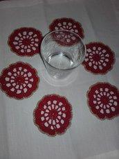 Set 6 Sottobicchieri all'uncinetto idea decorazione tavola Natale, vera Occasione
