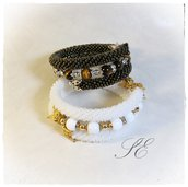 Bracciale beads crochet, uncinetto con perline e pietre dure