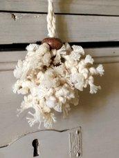 Nappina per chiavi di cotone povero beige con palline di legno, nappa per mobili, decorazioni shabby chic