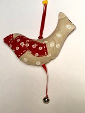Uccellino di stoffa shabby chic imbottito