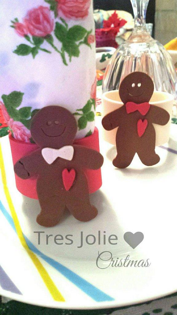 KIT 6 PORTATOVAGLIOLI NATALE omino gingerbread addobbi  natalizi
