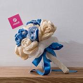 Bouquet tessuto Azzurro e Beige