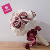 Bouquet tessuto Bordeaux e Rosa