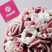 Bouquet tessuto Rosso e Rosa