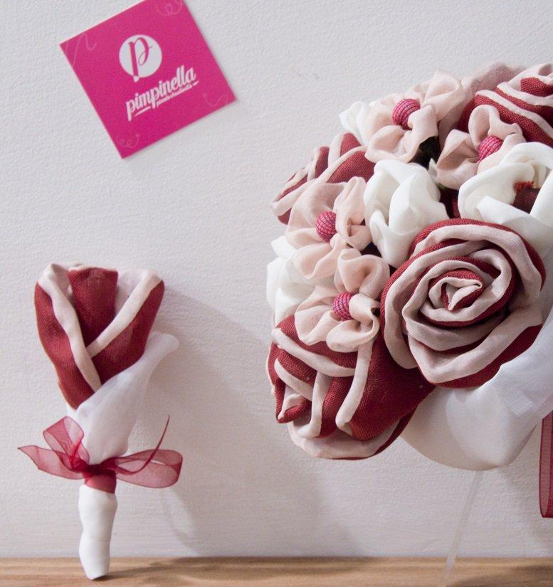 Boutonnière tessuto Rosso e Rosa