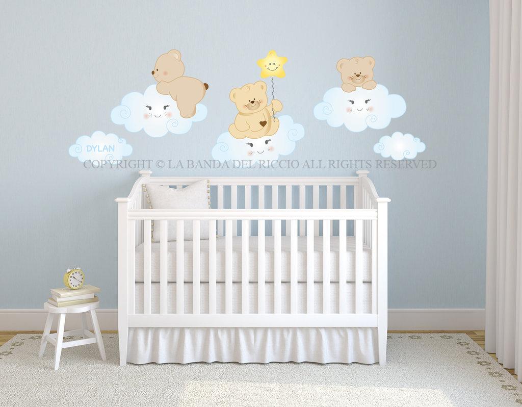 Orsetti sulle nuvole adesivi da muro per la camera dei tuoi bambini su misshobby - Adesivi per muro cameretta ...