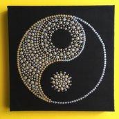 Yin and Yang. Mandala. Quadretto su tela da appendere
