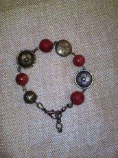 Bracciale vintage bronzo e diaspro rosso