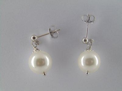 Orecchini a perno  in argento  con perle di madreperla