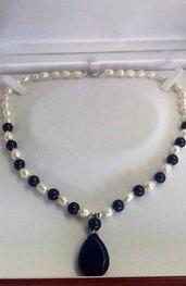 Collana donna con veri lapislazzuli naturali e vere perle barocche d'acqua dolce