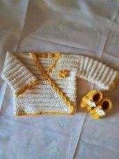 coprifasce neonata e babucce 0/3 mesi uncinetto, bianco e giallo