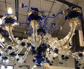 Tazza, ricambio per lampadari Venini e non, in vetro soffiato di Murano, color blu ed oro