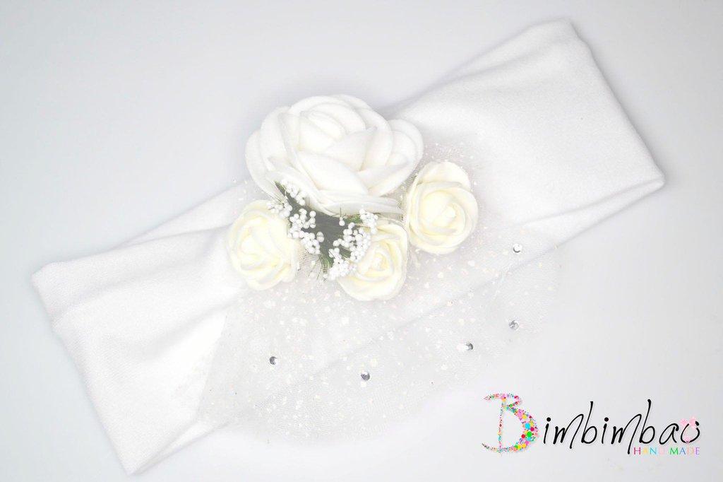 fascia fascetta cotone cerimonia bambina bimba bianca neonata elastica per battesimo o comunione occasione speciale
