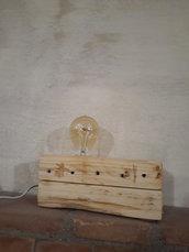 """Lampada da tavolo """"Il Mattone"""" - Legno naturale e lampadina dimmerabile - Rustica - Linea moderna"""