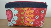 Pochette tessuto jeans e multicolore