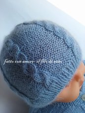 Cappello bambino in pura lana baby 100% con lavoro a trecce