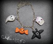 braccialetto halloween| braccialetto ciondoli fimo| braccialetto fimo| halloween fimo| halloween| bracciaòe ciondolo| halloween idea regalo| fantasma fimo| gioielli fimo|pipistrello fimo