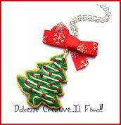 Natale in Dolcezze -  Collana Biscotto con albero di natale glassato - handmade - fimo e cernit