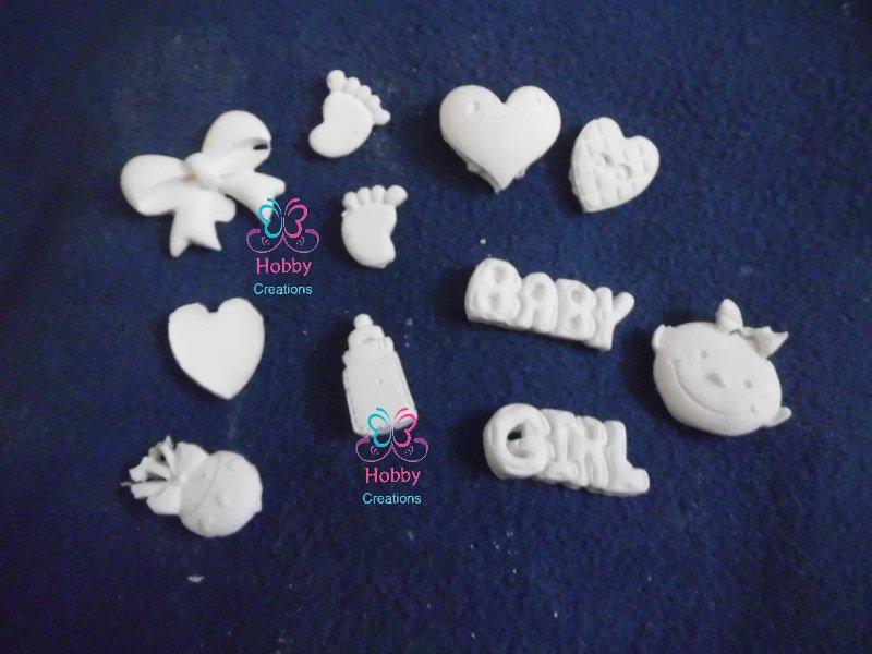 20 MINI gessetti cabochon a forma di tema di nascita, biberon,  baby, cuore, bambino, fiocco, piedino