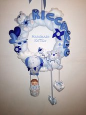 Ghirlanda fiocco nascita con bimbo su mongolfiera e orsetti Handmade KriTiLo