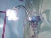 Lampada da parete o applique o, in vetro soffiato di Murano, con 2 luci