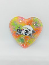 Calamita Panda-Unicorno in resina