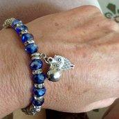 Braccialetto in pietre azzurre e simil Swarovski
