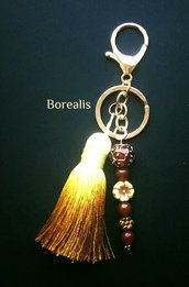 Portachiavi Boho Chic Corniola rosso oro vetro di Boemia rame nappa seta
