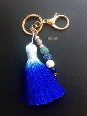 Portachiavi Boho Chic Blu Mare Nappa Seta Sfumature Marine Lapislazzuli Lava Vulcanica Perle d'acqua Freshwater perla di Boemia