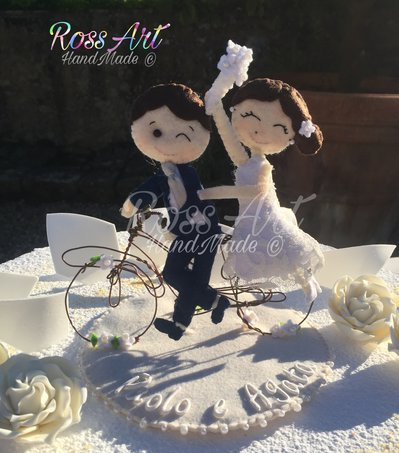 Cake Topper Sposi in bicicletta