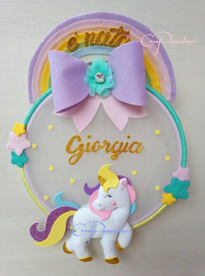 Fiocco nascita decorazione cameretta unicorno delle for Decorazione unicorno