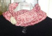 SCALDACOLLO rosa panna scarf regalo