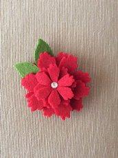 Spilla fiore rossa feltro