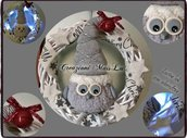Ghirlanda decorativa natalizia con gufetto e luci al led