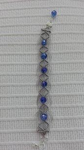 Bracciale macramè perle blu