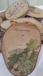 Appendi presine o sottopentola in betulla,decorato con stampa vintage quercia