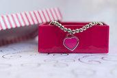 Bracciale con perline Acciaio, composto da ciondolo a cuore rosa