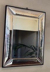 Specchio, in vetro di Murano e argento, fatto a mano e pezzi di ricambio come rosone, chiodi, foglie in vetro soffiato