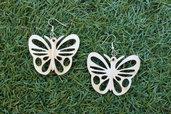 orecchini farfalla in legno