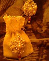 Orecchini Chiaccherino ricamato con perline