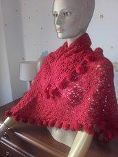Scialle versatile sciarpa backtus donna all'uncinetto coprispalle lana homemade inverno