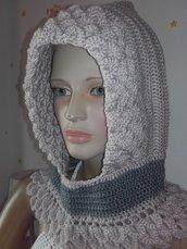 Cappuccio scaldacollo donna capello lana all'uncinetto abbigliamento invernale